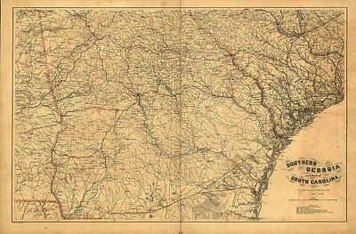 Southern GA and SC c1865 repro 36x24