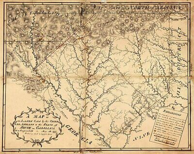 Map of Land ceded by Cherokee Indians in SC c1777 30x24