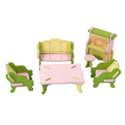6pcs Wooden Doll House Furniture Living Room Set Kids Role Pretend Play Toys