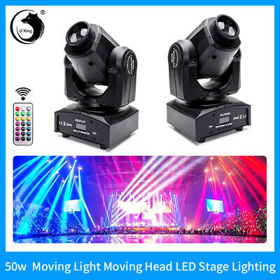 2PCS U`King 50W Stage Light RGBW Spolight Pattern Gobo DMX512 Disco Party+Remote