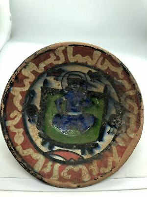 (15.6CM)ANCIENT PERSIAN KHORASAN glazed TERRACOTTA BOWL WITH KING on PALACE