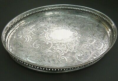 Vintage ornate silver plated oval tray with gallery - silver plate on copper