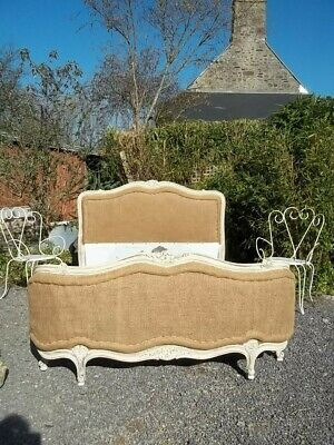 French Antique Tailored Hessian/ French Burel Double Lxv Style  Corbielle Bed
