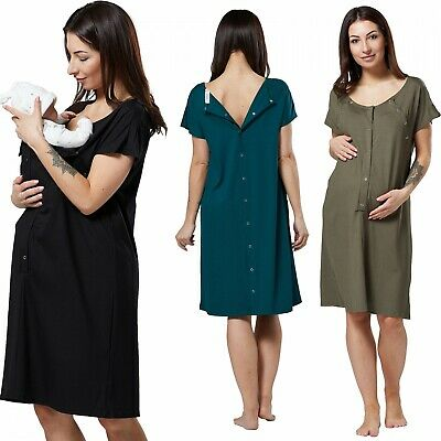 Happy Mama Women's Maternity Nursing Delivery Hospital Gown Nightshirt 538p
