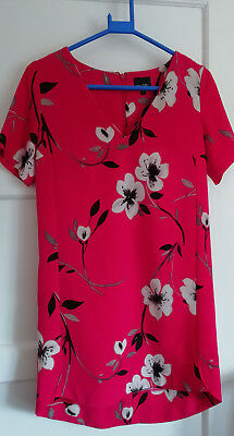CLN77) Ladies red dress size 8 Next Petites vneck short sleeved above the knee