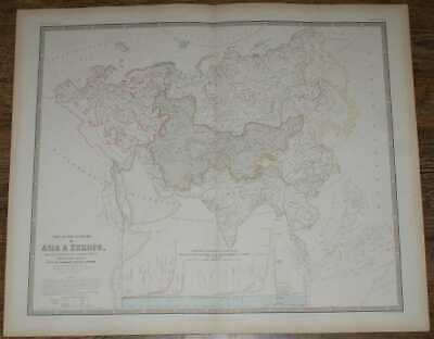 Map: 1848 Map of the River Systems of Asia & Europe - Volga, Ganges, Danube etc.