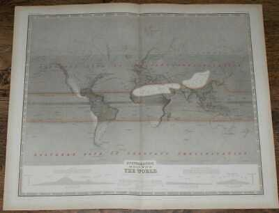Map: 1848 Hyetographic or Rain Map of World Extended from Designs Prof Berghaus
