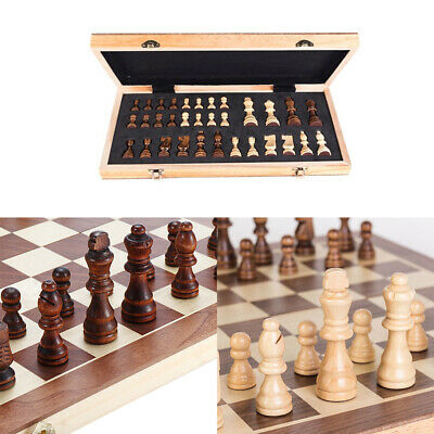 Large Chess Wooden Set Folding Chessboard Pieces Wood Board 30cm 3 in 1
