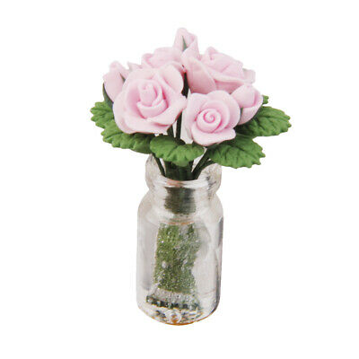 1/12 Miniature Pink Rose in Glass Vase Dolls House Flower Ornament Accessory