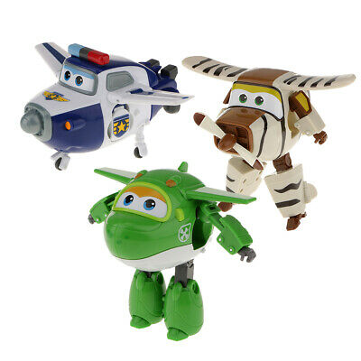 3PCS Superr Wings Miro Bello Paul Plane Robot Transforming Kid Character Toy