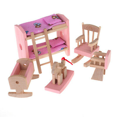 Wood Dollhouse Furniture Nursery double-deck bed chairs cradle rocking horse