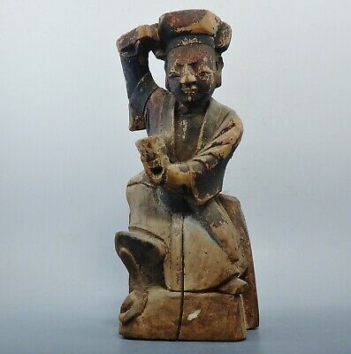 Qing Dynasty Wooden Taoist House God (374K)