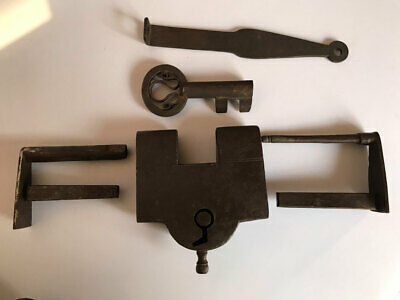 Iron lock or padlock with 2 key, trick or puzzle, Old / antique, barbed spring,