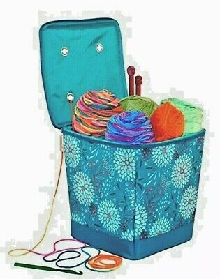 Everything Mary Tangle-Free Knitting / Yarn Organizer in Teal Floral EVM9680-1