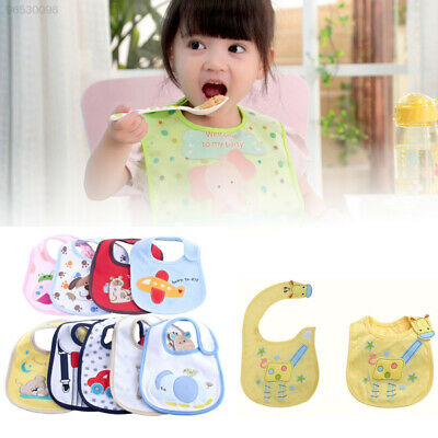 9288 Baby Boy Girl Bib Toddler 3 Layer Waterproof Animal Bow Tie Lunch Cotton