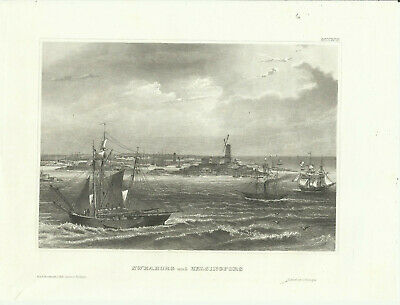Um 1850 Sweaborg und Helsingfors Alter Stich Stahlstich Antique Steel Engraving