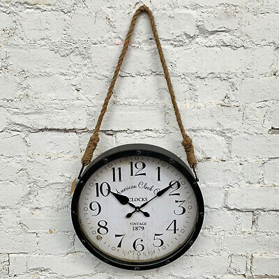 Industrial Vintage Rope Wall Hanging Metal Studded Analogue Wall Art Clock Large