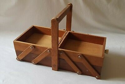 Vintage C1970'S Wooden Sewing Caddy Storage Box - Old School Form 3 Project