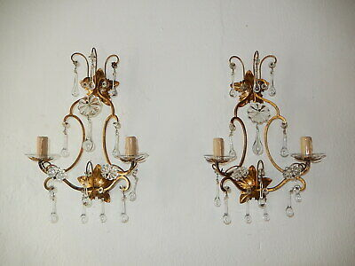 ~c 1940 French Maison Bagues Style Gold Crystal Murano Drops Sconces Gorgeous!~