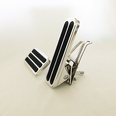 Custom Hinged 'Floor' Gas Pedal and Brake Pedal Pad Combo - Polished Aluminum
