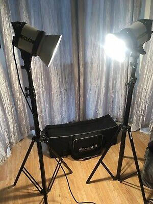 Two Elinca Studio Lights And Light Stands With Carry Case