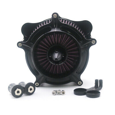 Black CNC Turbine Air Cleaner Filter For Sportster XL883 XL1200 2004~2014