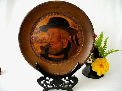 Antique Black Forest Wood Painted Portrait Wall Plaque  - Signed By Artist