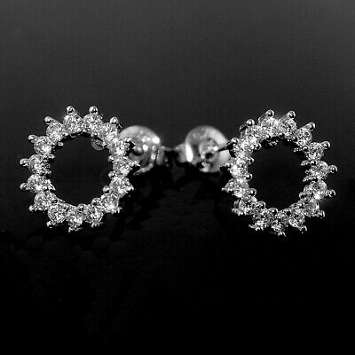 925 Sterling Silver Open Circle Round Clear CZ Zirconia Stud Earrings Bridal 249