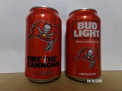 Nfl 2017 Bud Light Set Of 2 12 Oz Cans New Unopened Tampa Bay Buccaneers