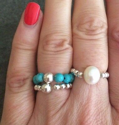 INKA Sterling Silver stacking Stretch Ring Thumb ring with Turquoise bead