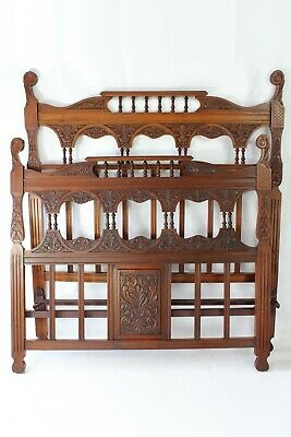 Antique Victorian Carved Walnut Double Bed - 4FT6 Arts & Crafts Gothic Bedstead