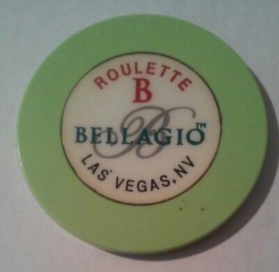Bellagio Casino Las Vegas, Nv. Table B Green Roulette Chip Great For Collection!
