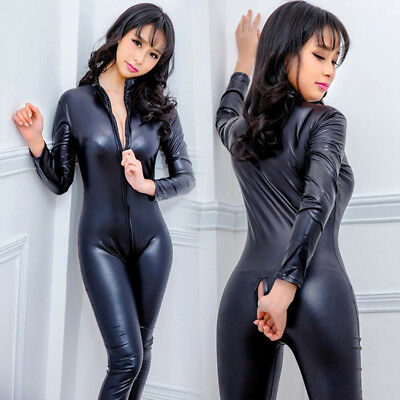 Women's Latex Wet Look Jumpsuit Leather CatsuitClose-fitting bodysuit RompersRDR