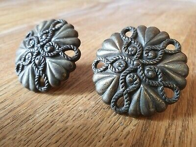 2 x Vintage Antique Pull Drawer Door Handles Project Furniture. Round, Rope.