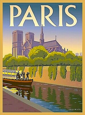 Notre Dame Cathedral Paris France Seine River Boat Vintage Travel Poster Print