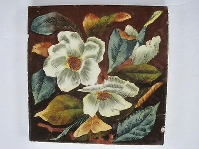 "ANTIQUE VICTORIAN SHERWIN & COTTON ""PATENT NIELLO"" ROSES TILE c1877 - 1911 #45"
