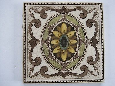 Antique Aesthetic Print & Tint Oval Medalion Tile - J H Barratt C1900 - 25
