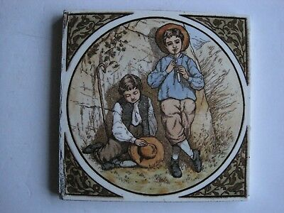 Antique Victorian Wooliscroft Print & Tint Wall Tile- Shepherd Boys C1880