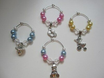 Baby Shower Wine Glass Charms x 12 Favours Boy Girl Table Decorations Champagne