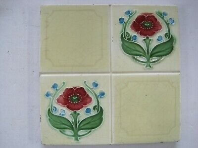 Antique Rhodes Moulded Art Nouveau Tile Quartered Red Floral Pattern C1902-06