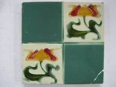 Antique Corn Bros Moulded Art Nouveau Tile Quartered Floral Pattern C1898-1904