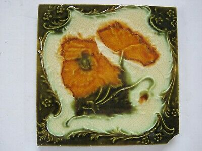 Antique Victorian Moulded Majolica Glazed Aesthetic Tile - Orange Poppies
