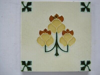 Antique Art Nouveau Tile With Stylised Flowers And Clover Corners - Rhodes Tile