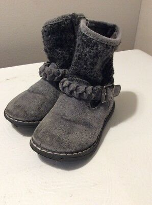Next Girls Winter Boots Size 5 Grey  Zip Good Used Condition