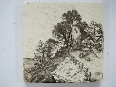 ANTIQUE VICTORIAN MINTONS VIEWS TILE  - GATEWAY WINCHELSEA c1885 SERIES No.2024