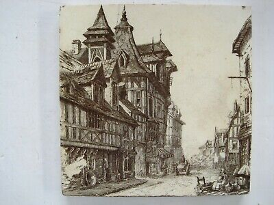 ANTIQUE VICTORIAN MINTONS VIEWS TILE  - OLD HOUSES ROUEN c1885 SERIES No.2024