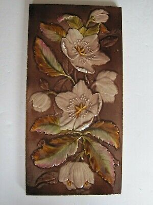 "Antique Victorian 12"" X 6""  Moulded Majolica Glazed Tile - Godwin & Hewitt?  #2"