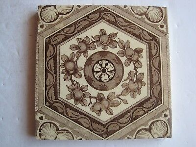 Antique Victorian Malkin Edge Browns On Buff Transfer Print Aesthetic Tile