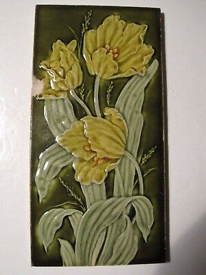 "Antique Victorian 12"" X 6"" Pilkingtons Moulded And Majolica Glazed Wall Tile"
