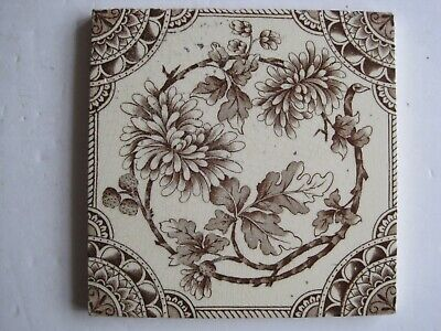 Antique Victorian George Marsdens Brown Floral Transfer Print Tile C1890